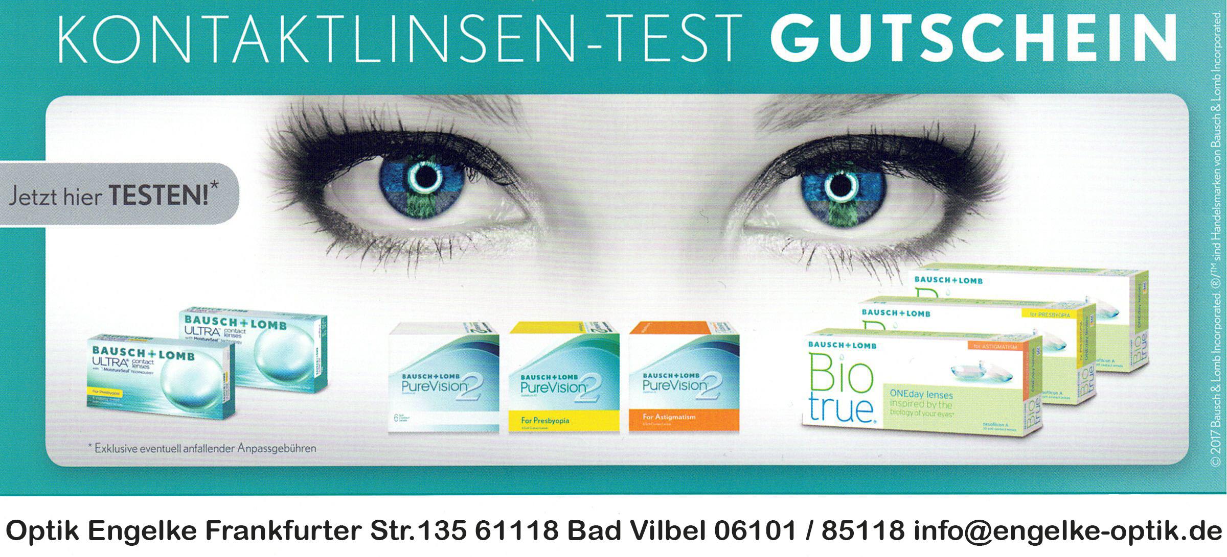 Gutschein Kontaktlinsen Probetragen