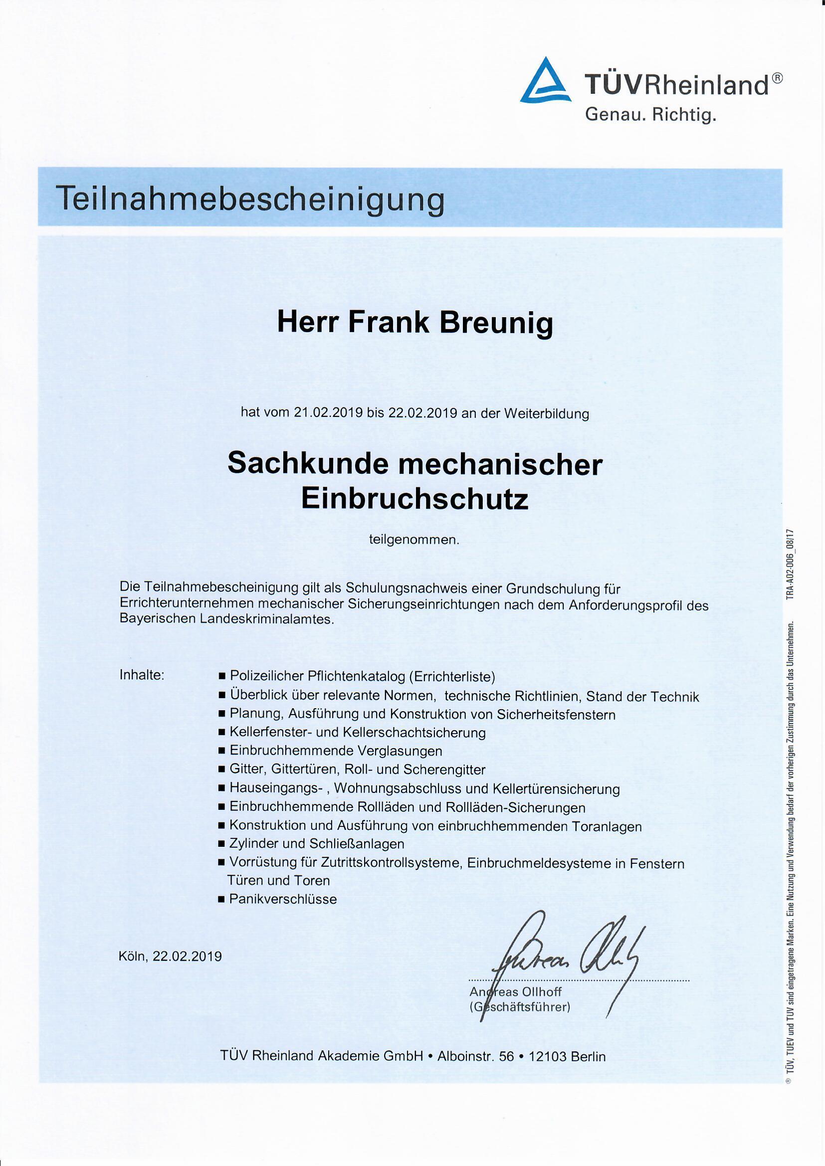 Frank Breunig Sicherheitstechnik Einbruchschutz